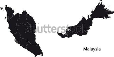 Stock fotó: Fekete · Malajzia · térkép · város · terv · háttér