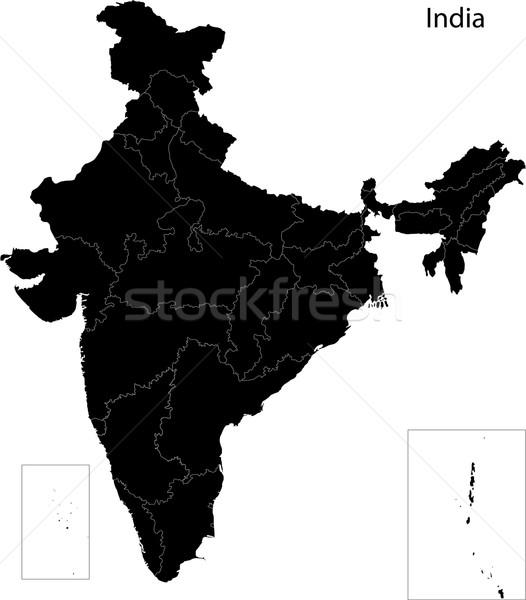 Black India map Stock photo © Volina