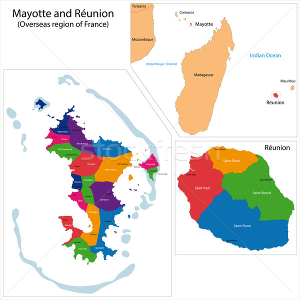 Reunion and Mayotte map Stock photo © Volina