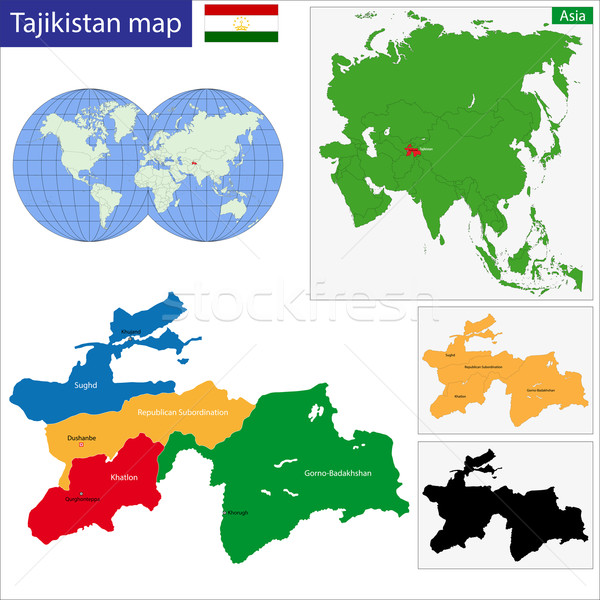 Таджикистан карта административный город силуэта азиатских Сток-фото © Volina