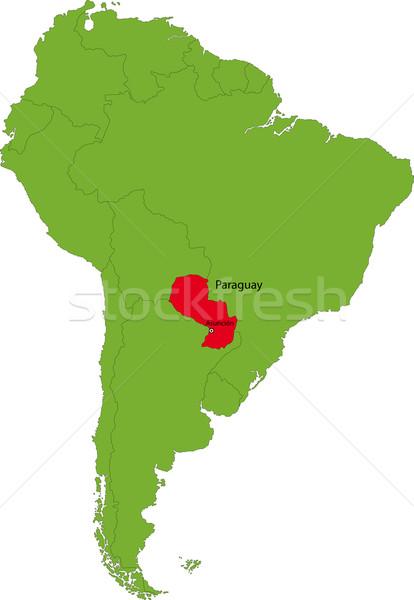 Paragwaj Pokaż lokalizacja ameryka południowa kontynent projektu Zdjęcia stock © Volina