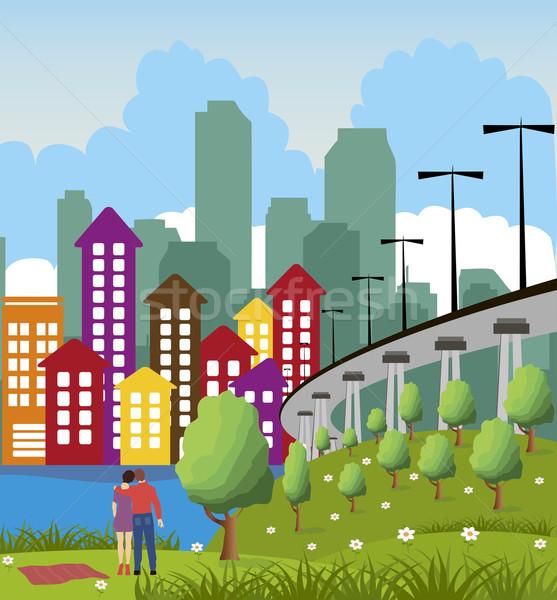 Nowoczesne metropolia miasta cartoon ilustracja kolorowy Zdjęcia stock © Volina