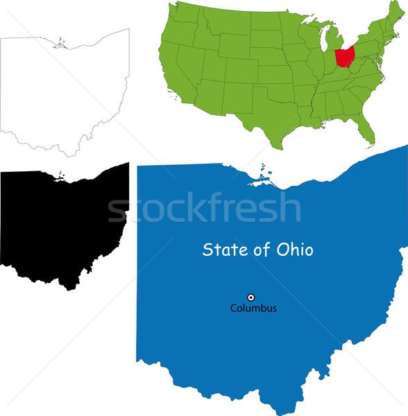 Ohio kaart illustratie USA kleur grens Stockfoto © Volina