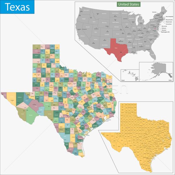 Техас карта иллюстрация США Вашингтон подробность Сток-фото © Volina