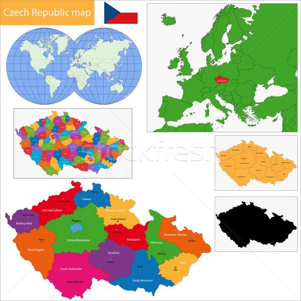 Csehország térkép régiók fővárosok város terv Stock fotó © Volina