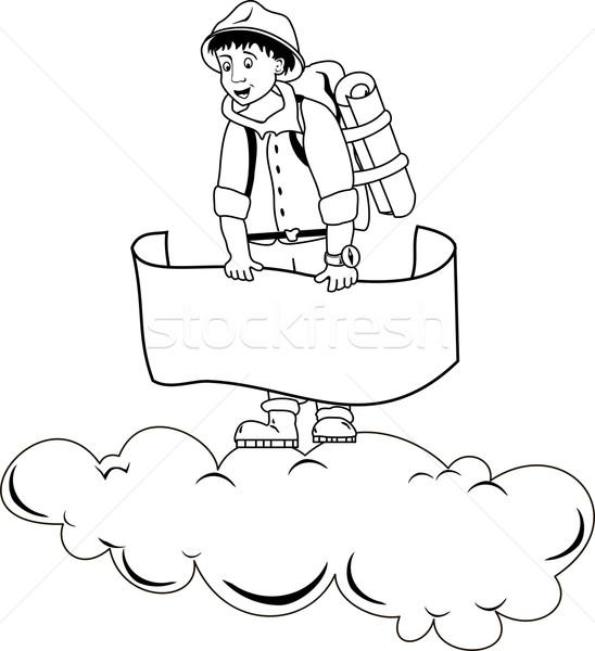 Viajante ilustração bandeira branco homem Foto stock © Volina