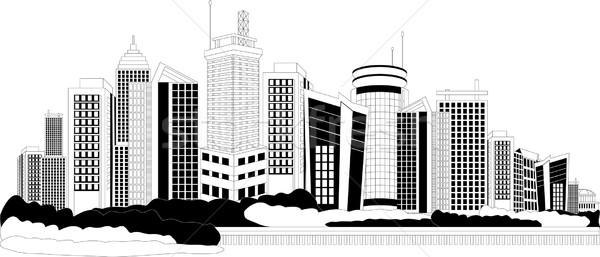 Moderno cidade metrópole preto e branco ilustração cityscape Foto stock © Volina