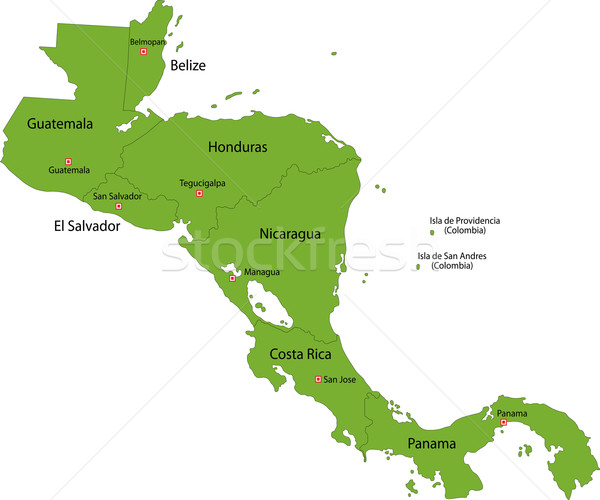 Zöld központi Amerika térkép vidék keretek Stock fotó © Volina