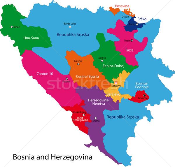 Босния и Герцеговина карта административный город стране иллюстрация Сток-фото © Volina