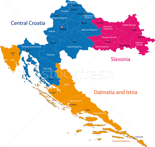Kroatien Karte administrative Republik Stadt Land Stock foto © Volina