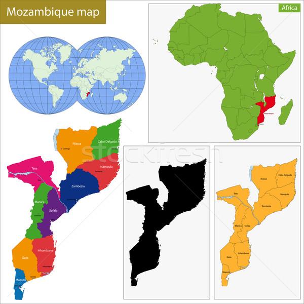 Moçambique mapa administrativo república país africano Foto stock © Volina