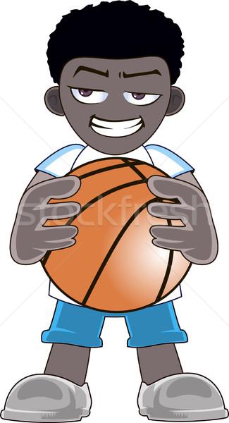 Stock fotó: Kosárlabdázó · labda · kéz · izolált · fehér · mosoly