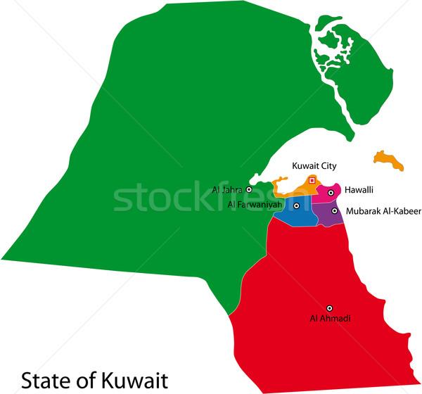 Koeweit kaart administratief ontwerp kleur witte Stockfoto © Volina