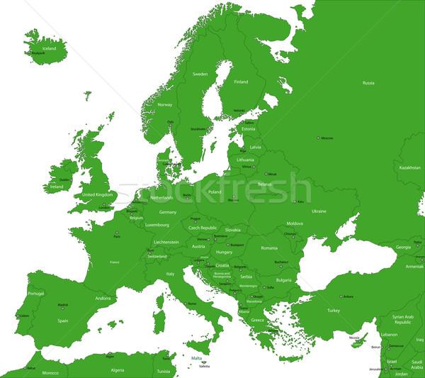 緑 ヨーロッパ 地図 国 首都 世界 ストックフォト © Volina