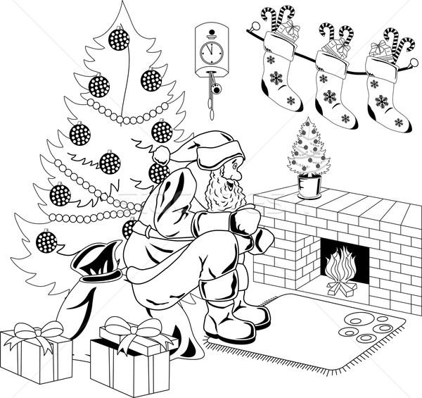 Foto stock: Papá · noel · fuego · sesión · habitación · árbol · de · navidad · árbol