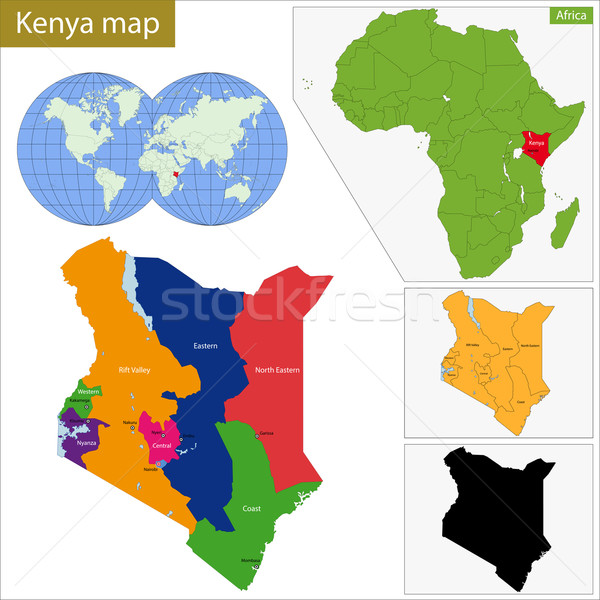 Kenia kaart administratief republiek land afrikaanse Stockfoto © Volina