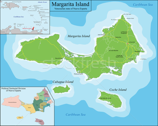 Map of Margarita Island Stock photo © Volina