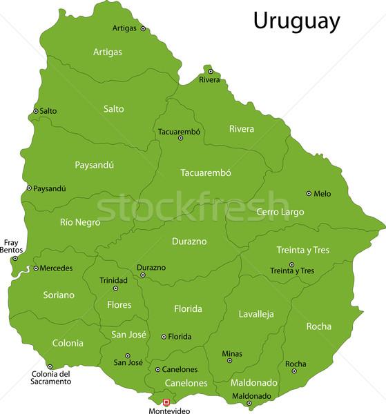 Verde Uruguay mapa administrativo diseno color Foto stock © Volina