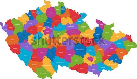 Tschechische Republik Karte administrative Farbe weiß Tabelle Stock foto © Volina