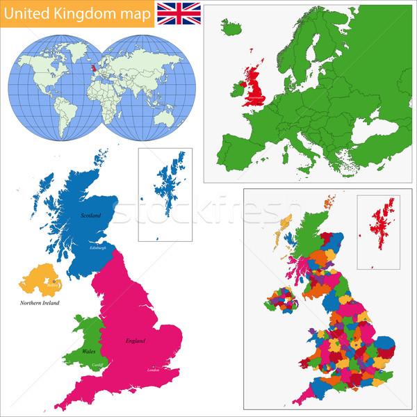 Regno Unito mappa amministrativa città Europa paese Foto d'archivio © Volina