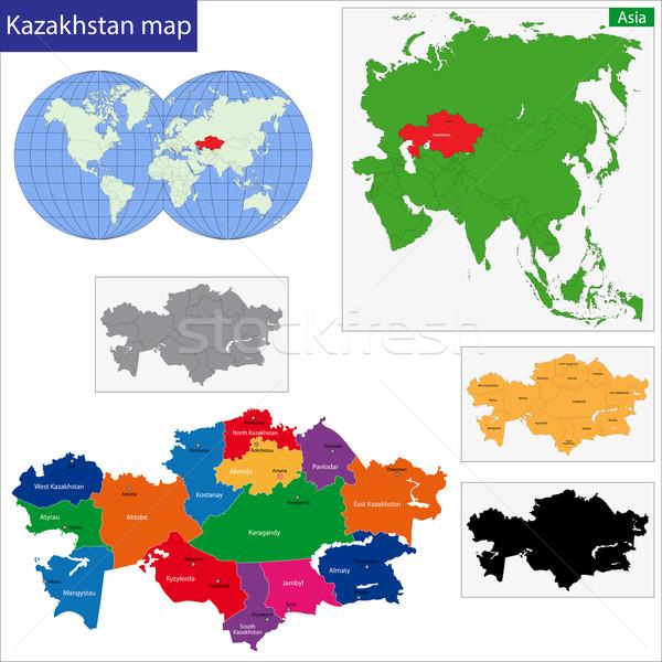 Cazaquistão mapa administrativo cidade asiático país Foto stock © Volina
