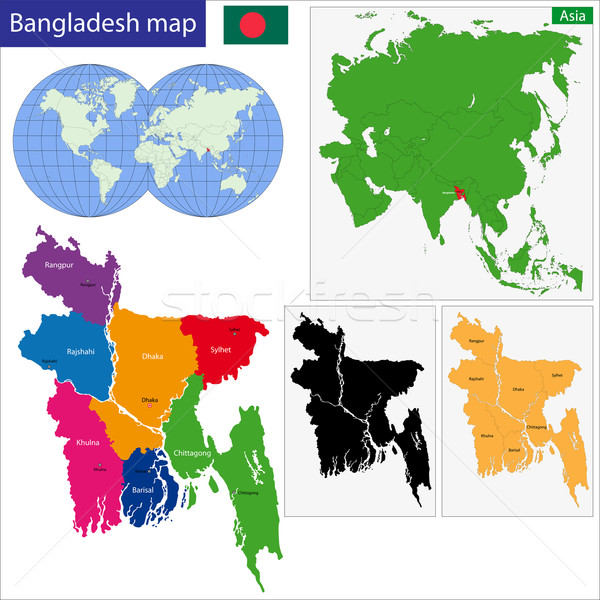 Banglades térkép emberek köztársaság színes fényes Stock fotó © Volina