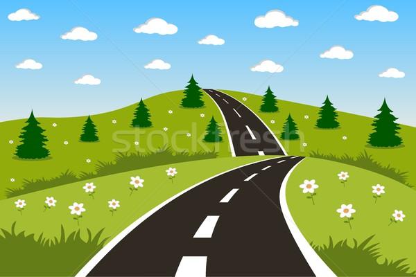 Verde paisagem estrada belo ilustração céu Foto stock © Volina