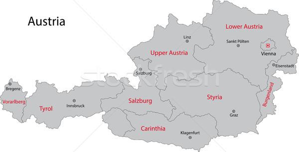 Szurke Ausztria Terkep Fo Varosok Varos Vektorgrafika