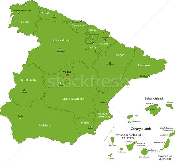Green Spain map Stock photo © Volina