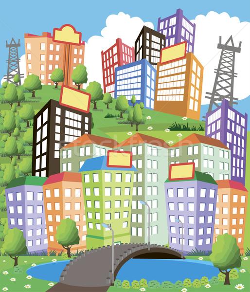 Cartoon город иллюстрация современных власти линия Сток-фото © Volina