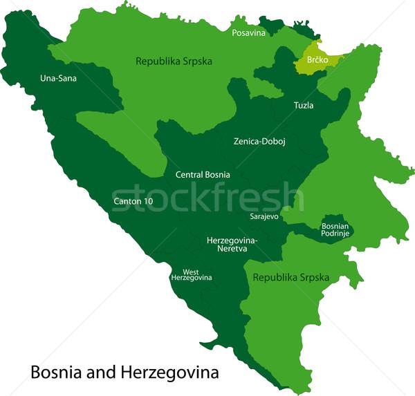 Green Bosnia and Herzegovina map Stock photo © Volina