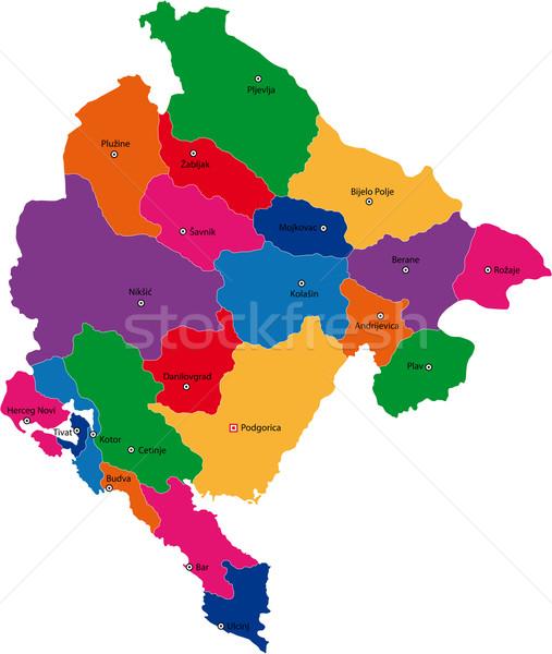 Черногория карта административный город стране иллюстрация Сток-фото © Volina