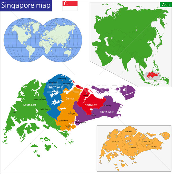 Singapore map Stock photo © Volina