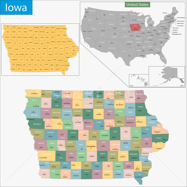 Iowa térkép illusztráció USA Washington Egyesült Államok Stock fotó © Volina
