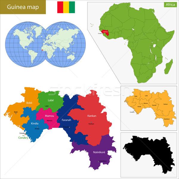 Guinea kaart administratief republiek afrikaanse detail Stockfoto © Volina