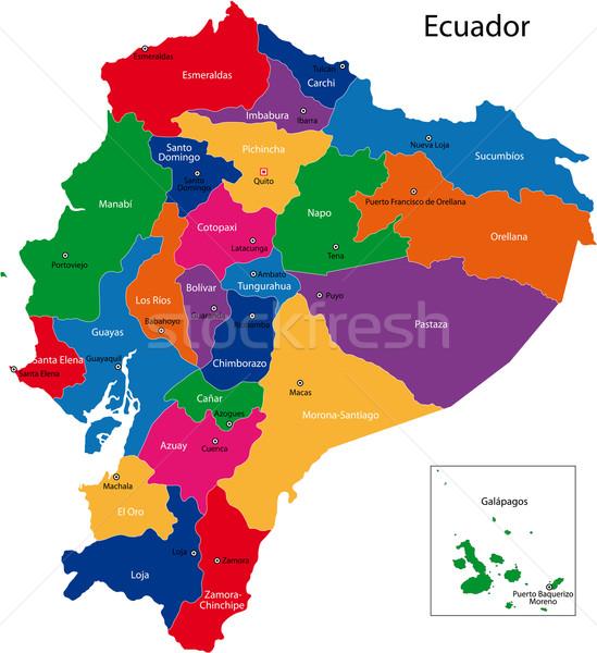 Ecuador térkép köztársaság régiók színes fényes Stock fotó © Volina