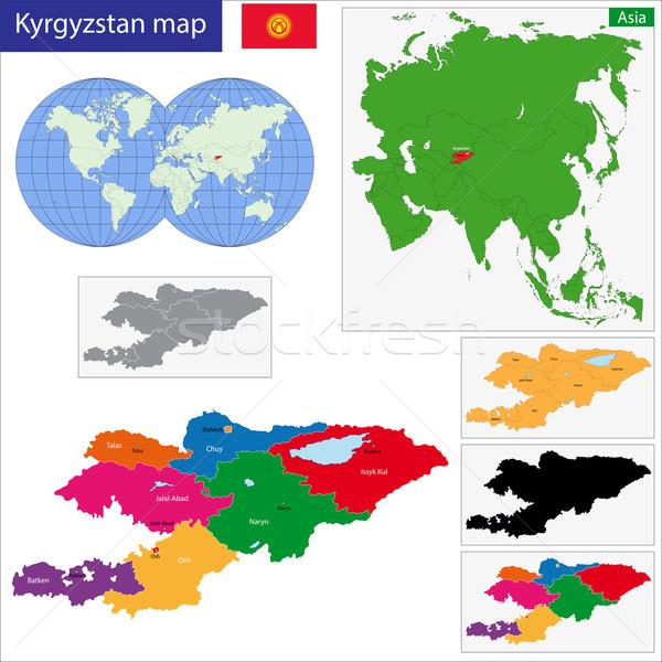 Kırgızistan harita idari şehir Asya ülke Stok fotoğraf © Volina