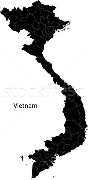 Black Vietnam map Stock photo © Volina