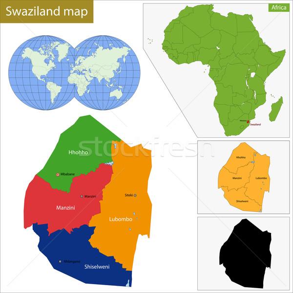 Svaziland harita idari federal krallık Afrika Stok fotoğraf © Volina