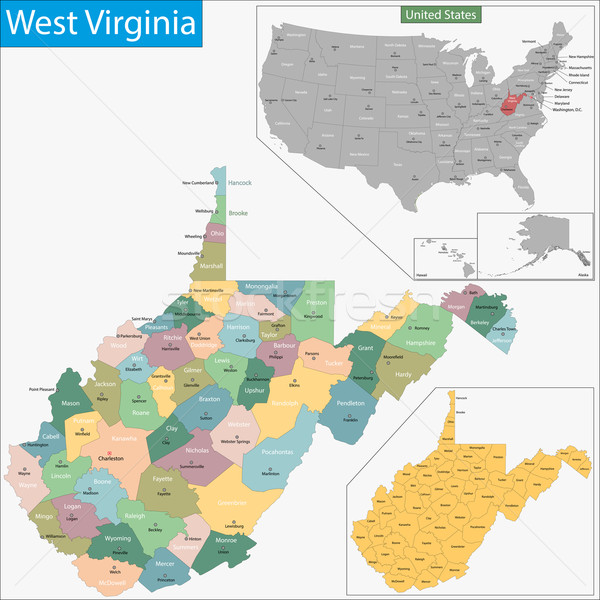 West Virginia kaart illustratie USA Washington Verenigde Staten Stockfoto © Volina