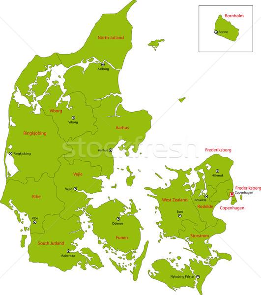 Green Denmark map Stock photo © Volina