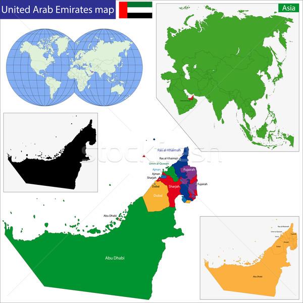 Emirados Árabes Unidos mapa alto pormenor precisão Foto stock © Volina
