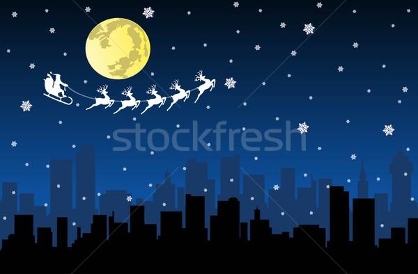 Flying сани ночь город силуэта Сток-фото © Volina