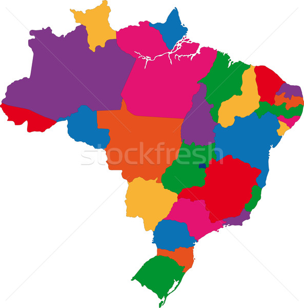 Colorful Brazil map Stock photo © Volina