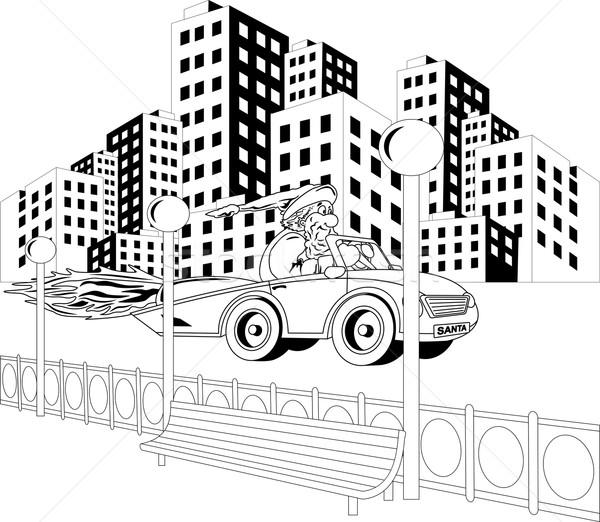 Дед Мороз вождения автомобилей иллюстрация город счастливым Сток-фото © Volina