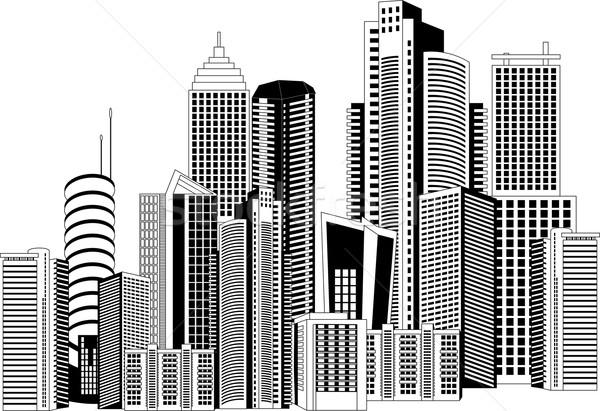 modernes ville blanc noir illustration bureau maison illustration vectorielle. Black Bedroom Furniture Sets. Home Design Ideas