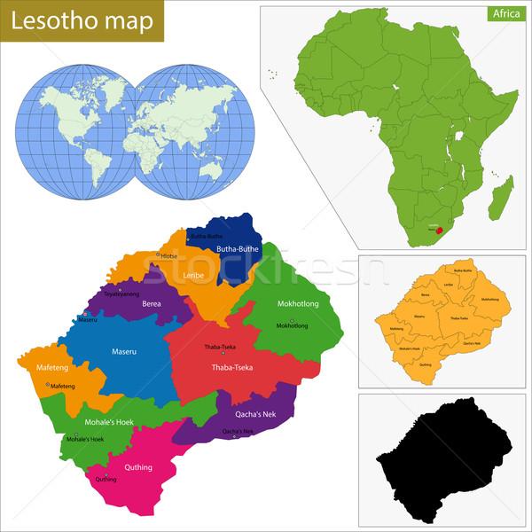 Lesotho carte administrative uni Afrique détail Photo stock © Volina