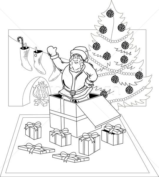 Дед Мороз улыбаясь из шкатулке фон зима Сток-фото © Volina