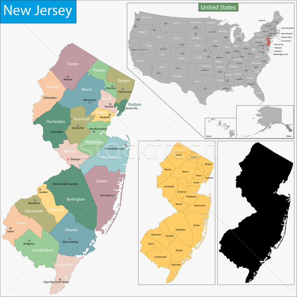 New Jersey map Stock photo © Volina