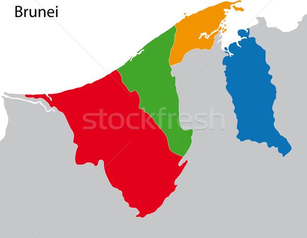 Brunei térkép adminisztratív ázsiai vidék gemkapocs Stock fotó © Volina